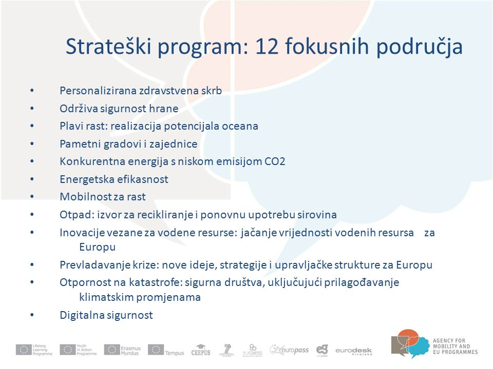 Strateški program: 12 fokusnih područja Personalizirana zdravstvena skrb Održiva sigurnost hrane Plavi rast: realizacija potencijala oceana Pametni gradovi i zajednice Konkurentna energija s niskom emisijom CO2 Energetska efikasnost Mobilnost za rast Otpad: izvor za recikliranje i ponovnu upotrebu sirovina Inovacije vezane za vodene resurse: jačanje vrijednosti vodenih resursa za Europu Prevladavanje krize: nove ideje, strategije i upravljačke strukture za Europu Otpornost na katastrofe: sigurna društva, uključujući prilagođavanje klimatskim promjenama Digitalna sigurnost