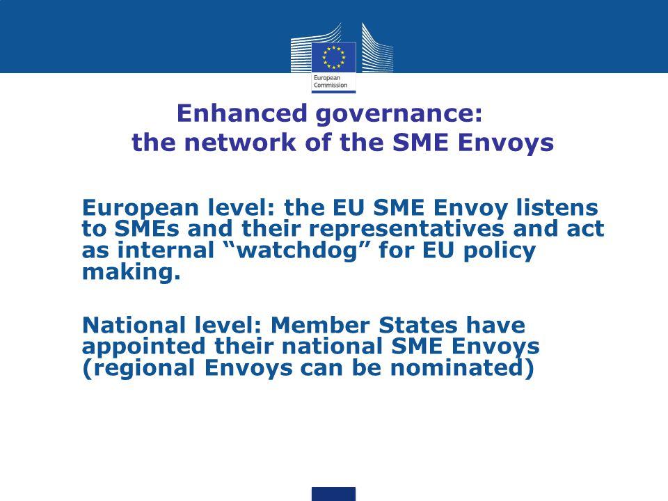 "Enhanced governance: the network of the SME Envoys European level: the EU SME Envoy listens to SMEs and their representatives and act as internal ""wat"