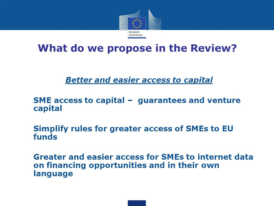 What do we propose in the Review? Better and easier access to capital SME access to capital – guarantees and venture capital Simplify rules for greate