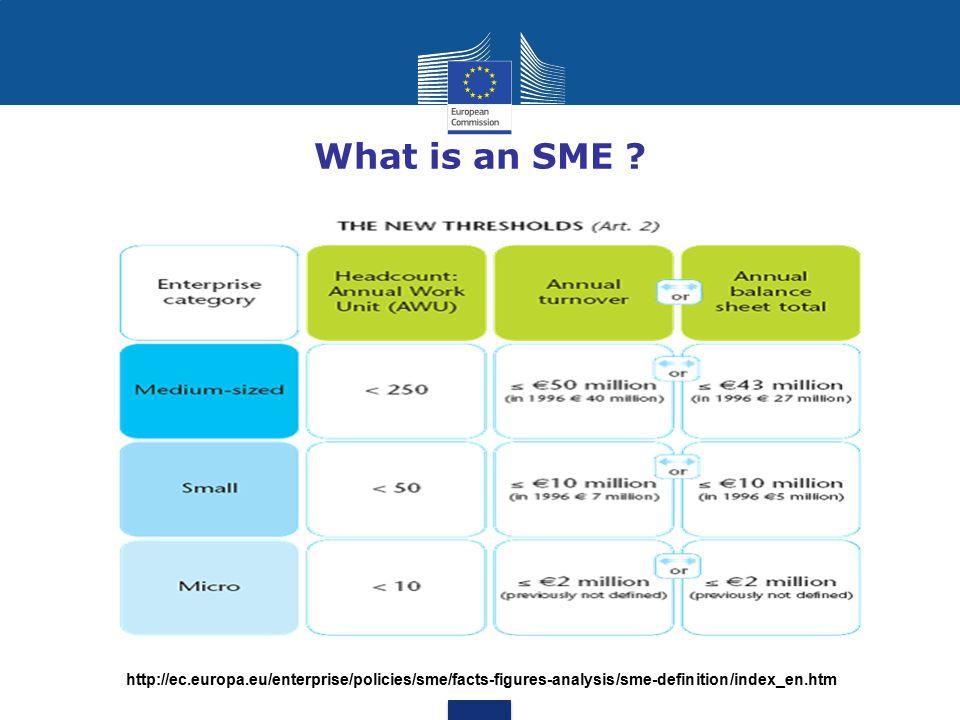 What is an SME ? http://ec.europa.eu/enterprise/policies/sme/facts-figures-analysis/sme-definition/index_en.htm