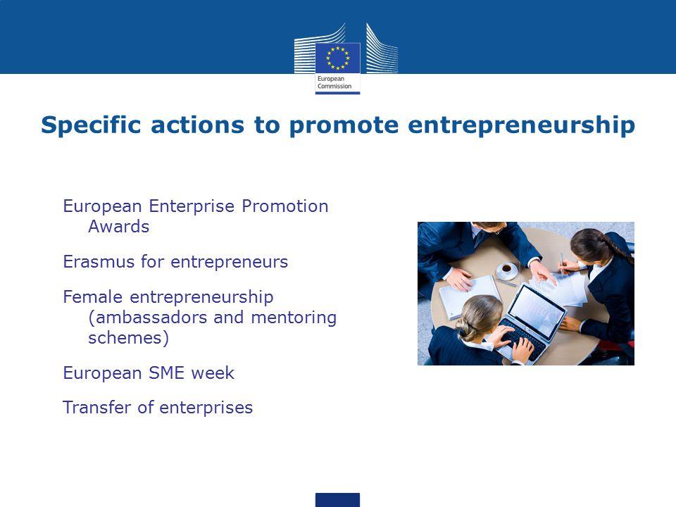 Specific actions to promote entrepreneurship European Enterprise Promotion Awards Erasmus for entrepreneurs Female entrepreneurship (ambassadors and m