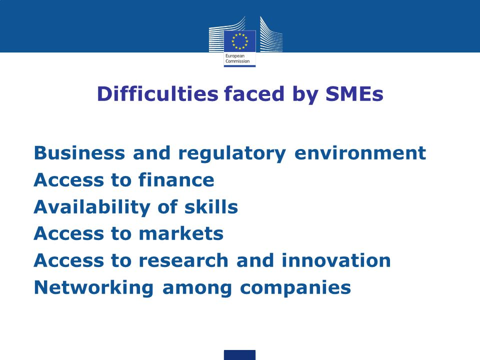 Difficulties faced by SMEs Business and regulatory environment Access to finance Availability of skills Access to markets Access to research and innov