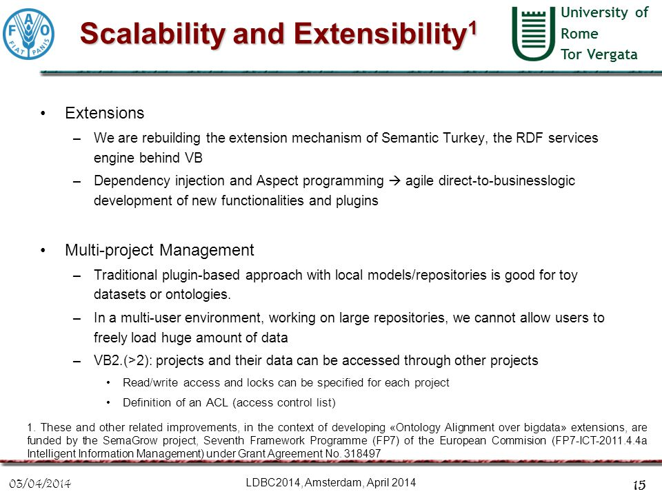 University of Rome Tor Vergata Scalability and Extensibility 1 Extensions –We are rebuilding the extension mechanism of Semantic Turkey, the RDF servi