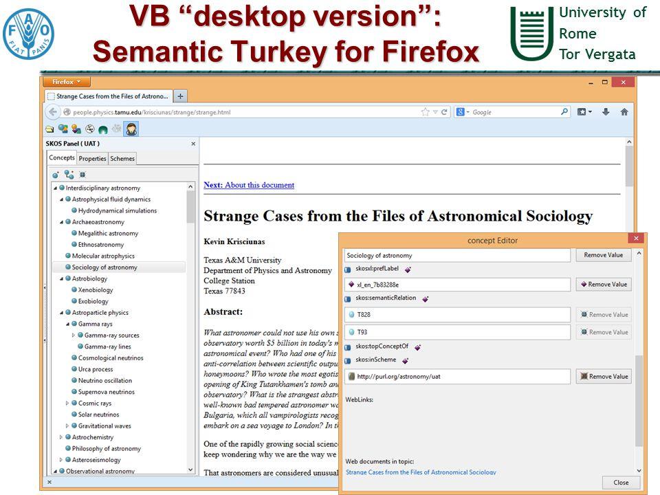 University of Rome Tor Vergata VB desktop version : Semantic Turkey for Firefox