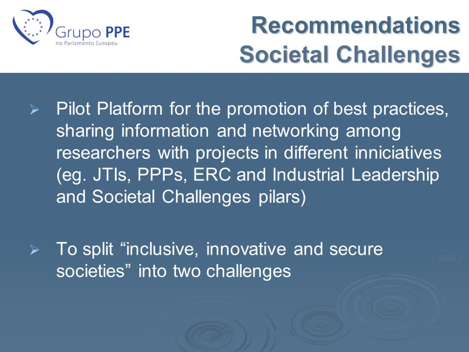 Recommendations Societal Challenges Recommendations Societal Challenges   Pilot Platform for the promotion of best practices, sharing information and networking among researchers with projects in different inniciatives (eg.