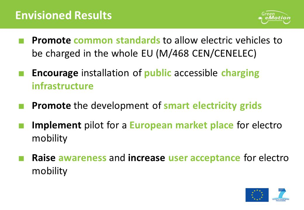 Envisioned Results ■ Promote common standards to allow electric vehicles to be charged in the whole EU (M/468 CEN/CENELEC) ■ Encourage installation of public accessible charging infrastructure ■ Promote the development of smart electricity grids ■ Implement pilot for a European market place for electro mobility ■ Raise awareness and increase user acceptance for electro mobility