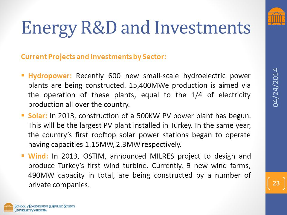 Energy R&D and Investments Current Projects and Investments by Sector:  Hydropower: Recently 600 new small-scale hydroelectric power plants are being