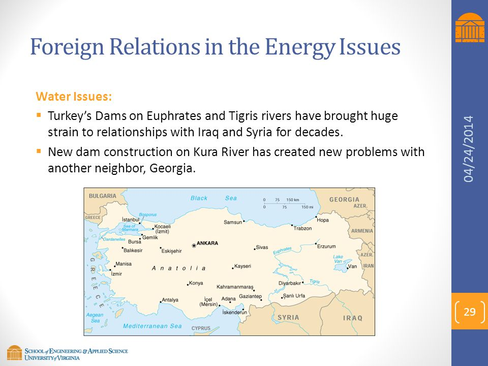 Foreign Relations in the Energy Issues Water Issues:  Turkey's Dams on Euphrates and Tigris rivers have brought huge strain to relationships with Ira