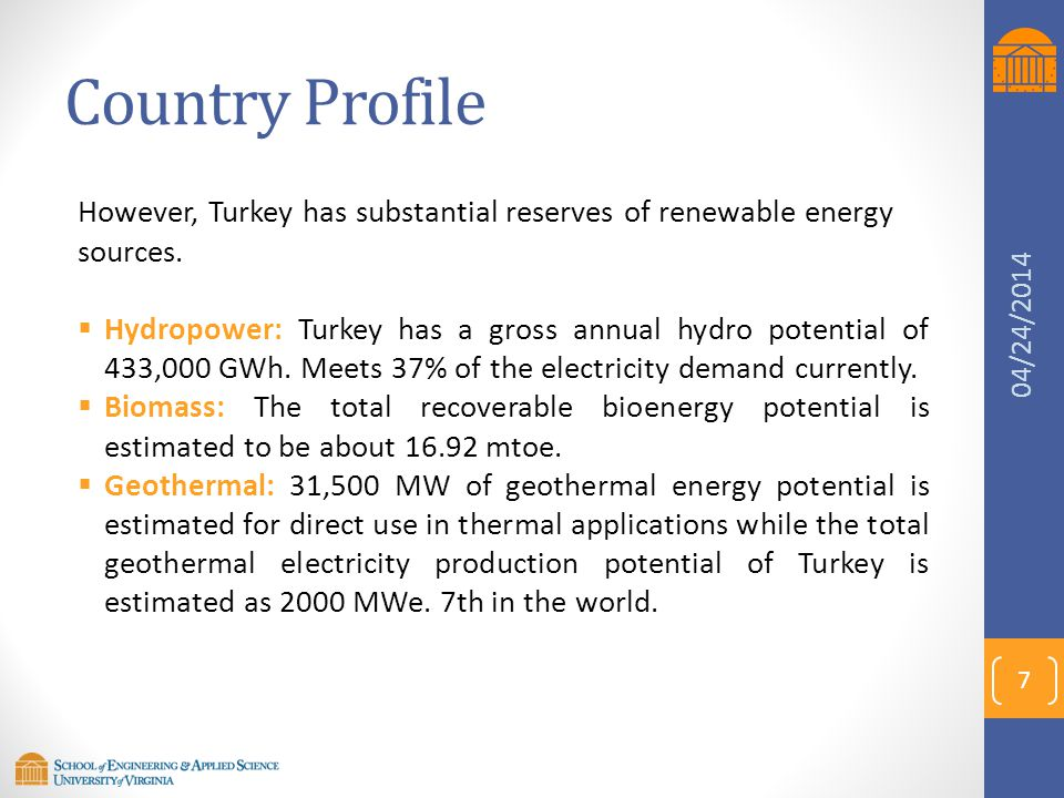 Country Profile  Solar: The yearly average solar radiation is 3.6 kWh/m2 day, and the total yearly radiation period is approximately 7.2 hours/day.