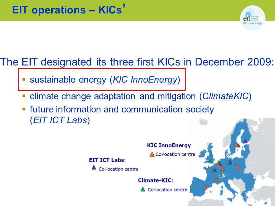 Example of KIC operation model: CC Poland Plus KIC/ CCPP Partner External entities (mostly techno parks) Only BCS Current implementation process of KIC strategy (CC Poland Plus) 1.