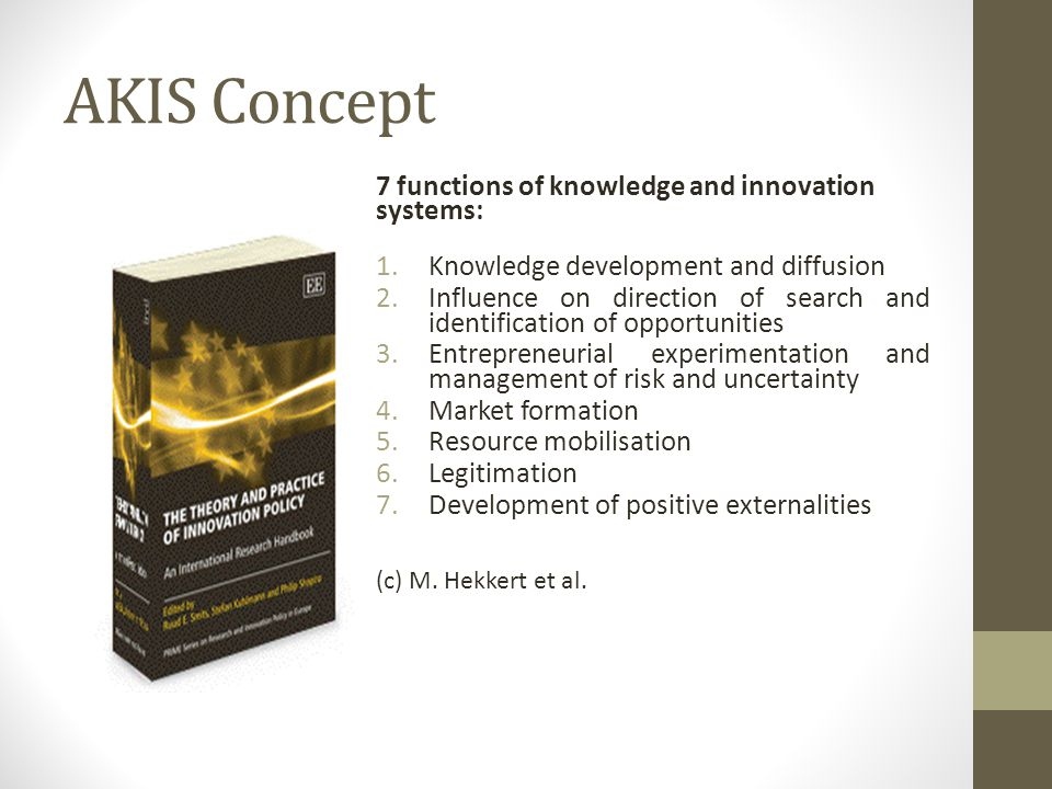 AKIS Concept 7 functions of knowledge and innovation systems: 1.Knowledge development and diffusion 2.Influence on direction of search and identification of opportunities 3.Entrepreneurial experimentation and management of risk and uncertainty 4.Market formation 5.Resource mobilisation 6.Legitimation 7.Development of positive externalities (c) M.