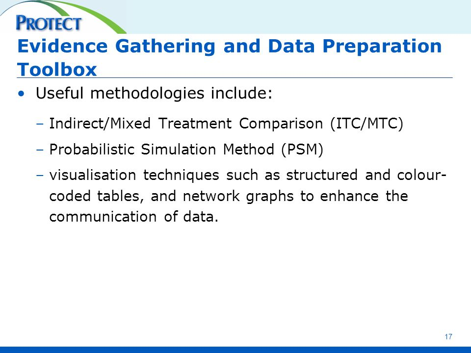 Evidence Gathering and Data Preparation Toolbox Useful methodologies include: –Indirect/Mixed Treatment Comparison (ITC/MTC) –Probabilistic Simulation Method (PSM) –visualisation techniques such as structured and colour- coded tables, and network graphs to enhance the communication of data.