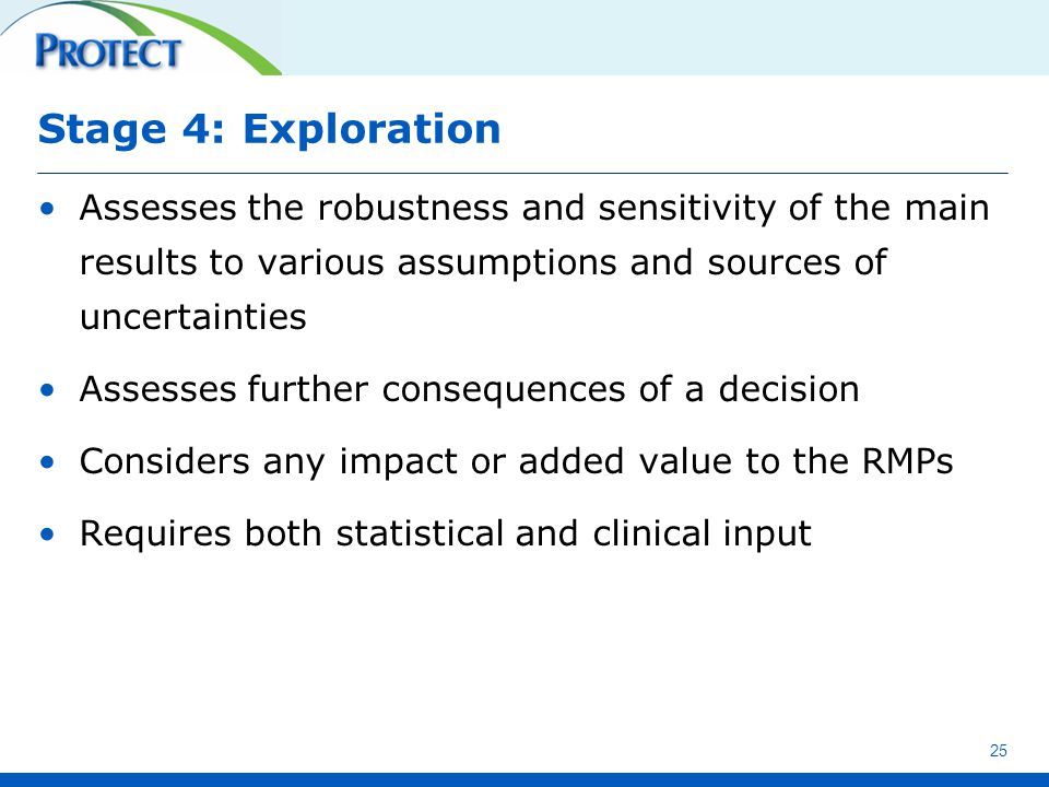 Stage 4: Exploration Assesses the robustness and sensitivity of the main results to various assumptions and sources of uncertainties Assesses further consequences of a decision Considers any impact or added value to the RMPs Requires both statistical and clinical input 25