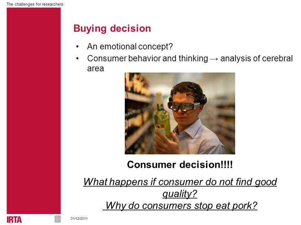 The challenges for researchers 01/12/2011 Buying decision An emotional concept.