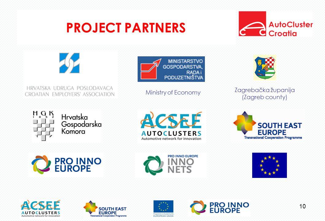 PROJECT PARTNERS Zagrebačka županija (Zagreb county) Ministry of Economy 10