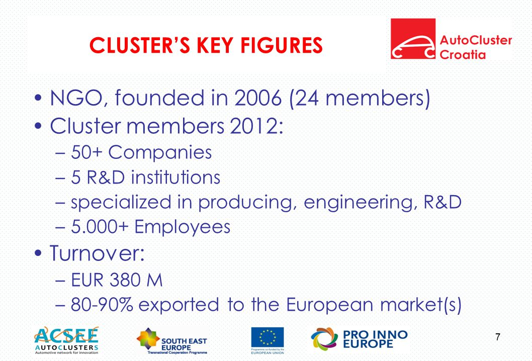 CLUSTER'S KEY FIGURES NGO, founded in 2006 (24 members) Cluster members 2012: –50+ Companies –5 R&D institutions –specialized in producing, engineering, R&D –5.000+ Employees Turnover: –EUR 380 M –80-90% exported to the European market(s) 7
