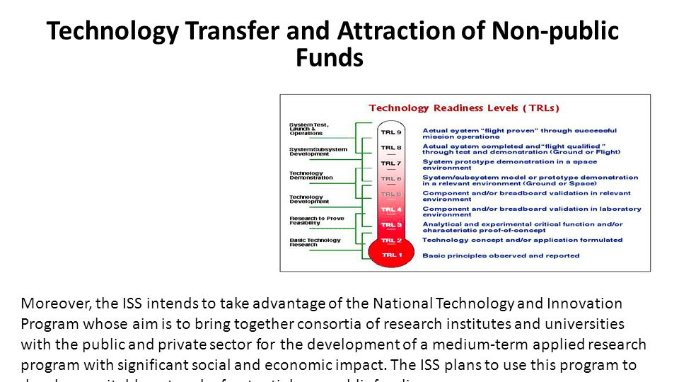 Technology Transfer and Attraction of Non-public Funds Moreover, the ISS intends to take advantage of the National Technology and Innovation Program whose aim is to bring together consortia of research institutes and universities with the public and private sector for the development of a medium-term applied research program with significant social and economic impact.