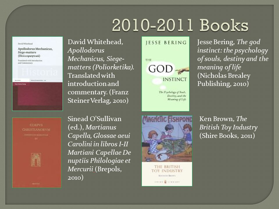2010-2011 Books David Whitehead, Apollodorus Mechanicus, Siege- matters (Poliorketika).