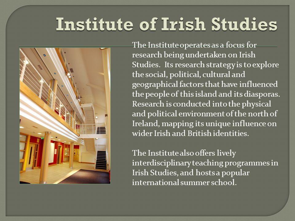 The Institute operates as a focus for research being undertaken on Irish Studies.
