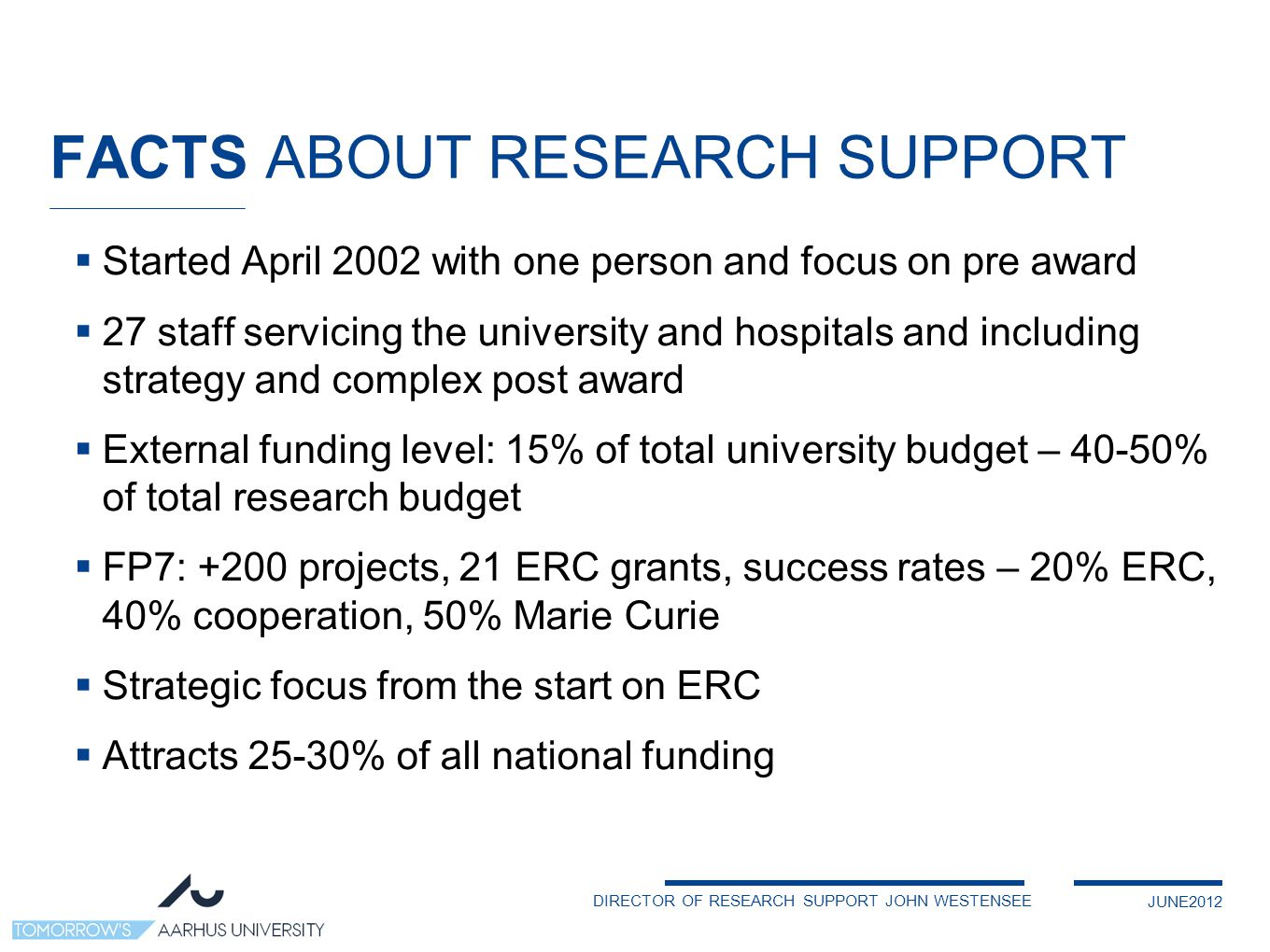 DIRECTOR OF RESEARCH SUPPORT JOHN WESTENSEE JUNE2012 FACTS ABOUT RESEARCH SUPPORT  Started April 2002 with one person and focus on pre award  27 staff servicing the university and hospitals and including strategy and complex post award  External funding level: 15% of total university budget – 40-50% of total research budget  FP7: +200 projects, 21 ERC grants, success rates – 20% ERC, 40% cooperation, 50% Marie Curie  Strategic focus from the start on ERC  Attracts 25-30% of all national funding