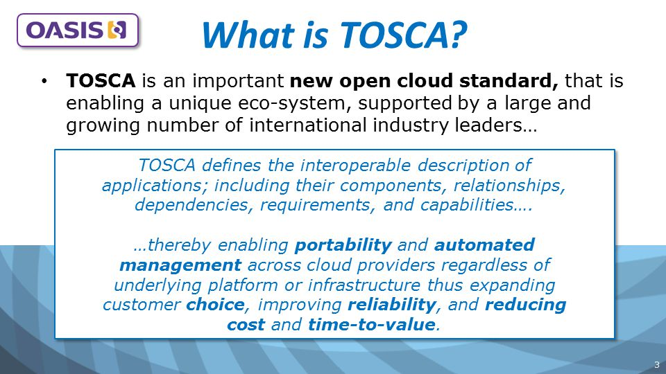 14 See the latest TOSCA Ecosystem in our video Cloudify ODCA Forecast Kiosk video features… OASIS TOSCA TC Members showcasing their support of the TOSCA Ecosystem ODCA Forecast Kiosk video features… OASIS TOSCA TC Members showcasing their support of the TOSCA Ecosystem Developed by the TOSCA Marketing & Education WG Developed by the TOSCA Marketing & Education WG