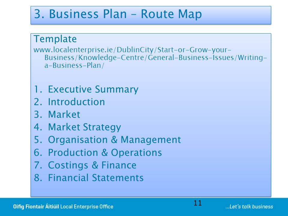 3. Business Plan – Route Map Template www.localenterprise.ie/DublinCity/Start-or-Grow-your- Business/Knowledge-Centre/General-Business-Issues/Writing-