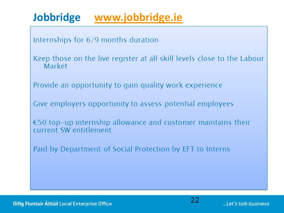 Jobbridge www.jobbridge.iewww.jobbridge.ie Internships for 6/9 months duration Keep those on the live register at all skill levels close to the Labour