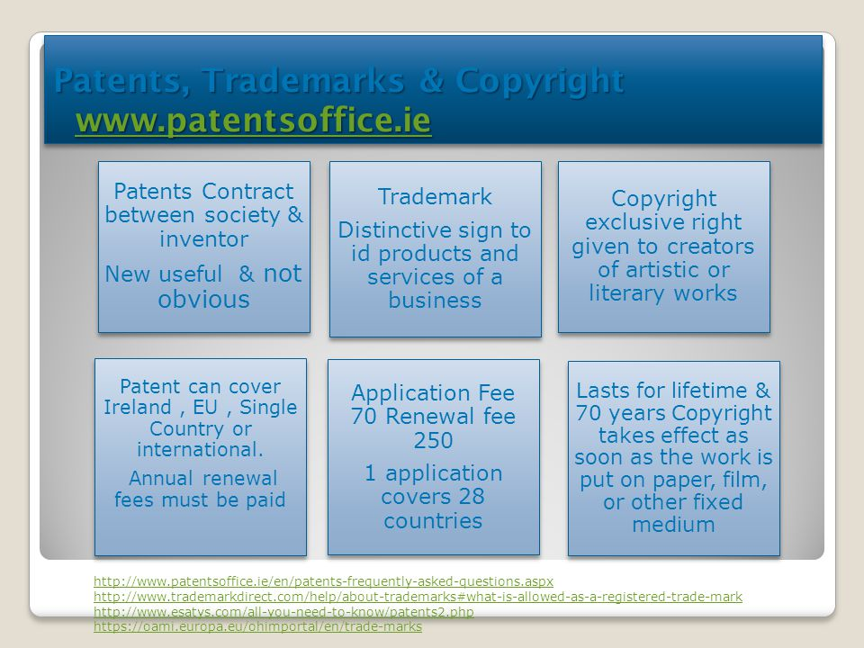 Patents, Trademarks & Copyright www.patentsoffice.ie www.patentsoffice.ie Patents, Trademarks & Copyright www.patentsoffice.ie www.patentsoffice.ie Pa