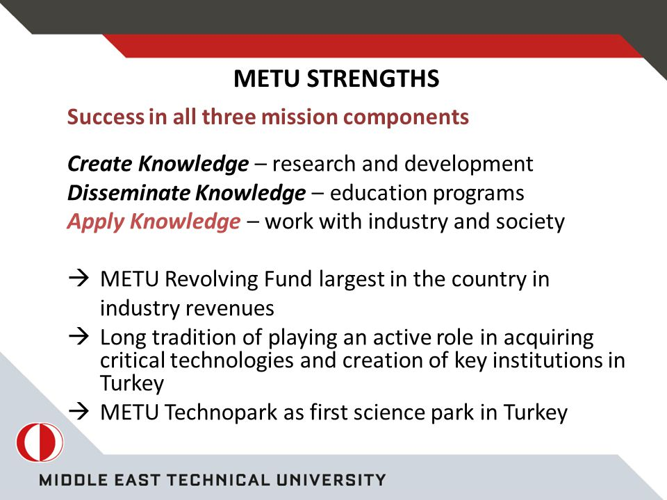 Success in all three mission components Create Knowledge – research and development Disseminate Knowledge – education programs Apply Knowledge – work with industry and society  METU Revolving Fund largest in the country in industry revenues  Long tradition of playing an active role in acquiring critical technologies and creation of key institutions in Turkey  METU Technopark as first science park in Turkey METU STRENGTHS