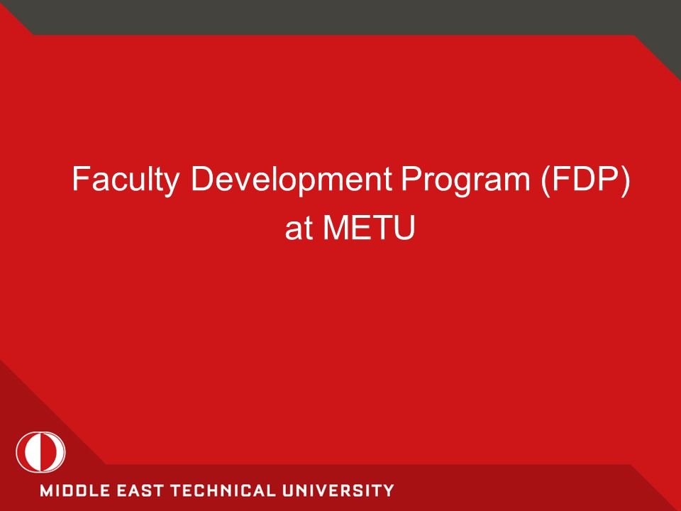 Faculty Development Program (FDP) at METU