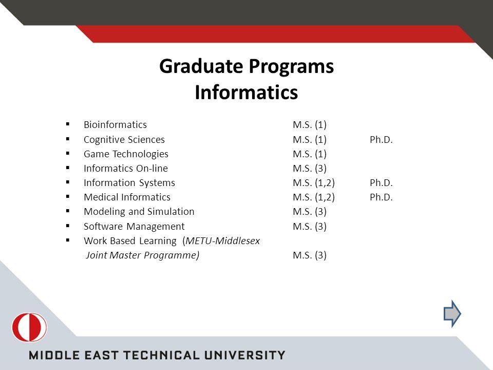 Graduate Programs Informatics  BioinformaticsM.S.