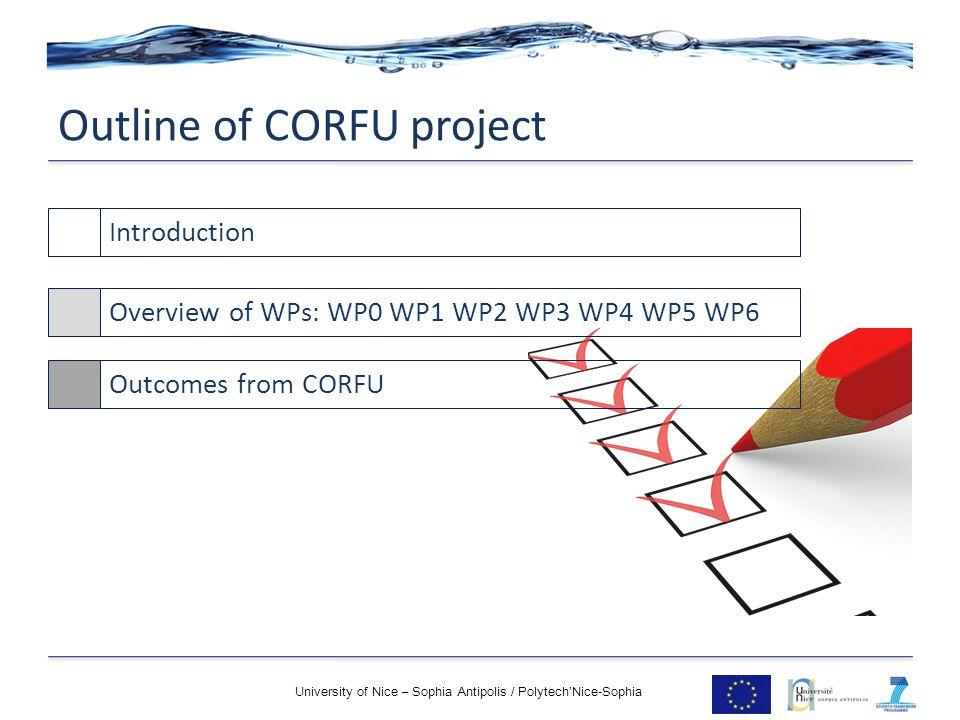 Outline of CORFU project University of Nice – Sophia Antipolis / Polytech'Nice-Sophia IntroductionOverview of WPs: WP0 WP1 WP2 WP3 WP4 WP5 WP6Outcomes