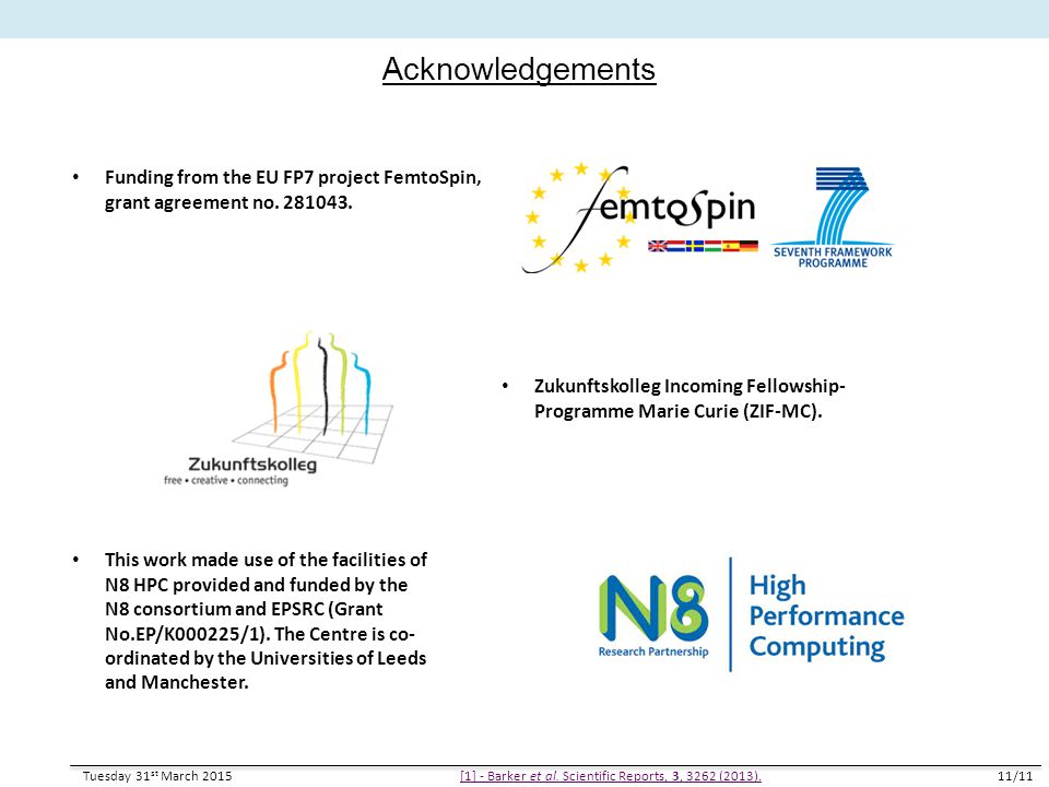 Acknowledgements Tuesday 31 st March 201511/11 [1] - Barker et al. Scientific Reports, 3, 3262 (2013). Funding from the EU FP7 project FemtoSpin, gran