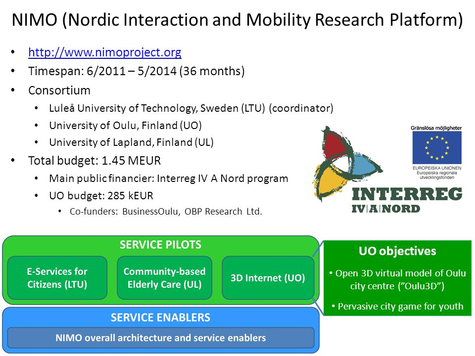 NIMO (Nordic Interaction and Mobility Research Platform) http://www.nimoproject.org Timespan: 6/2011 – 5/2014 (36 months) Consortium Luleå University of Technology, Sweden (LTU) (coordinator) University of Oulu, Finland (UO) University of Lapland, Finland (UL) Total budget: 1.45 MEUR Main public financier: Interreg IV A Nord program UO budget: 285 kEUR Co-funders: BusinessOulu, OBP Research Ltd.