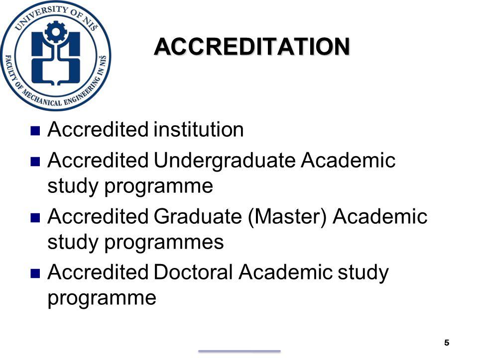 ACCREDITATION ACCREDITATION Accredited institution Accredited Undergraduate Academic study programme Accredited Graduate (Master) Academic study programmes Accredited Doctoral Academic study programme 5