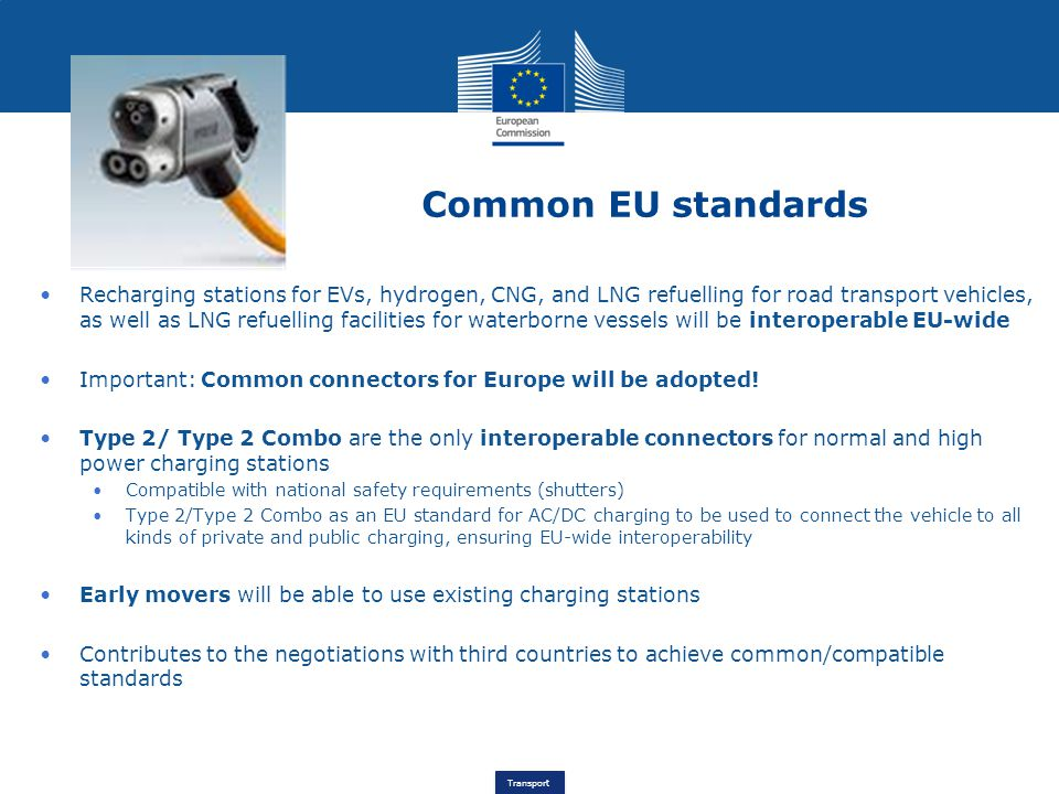 Transport Common EU standards Recharging stations for EVs, hydrogen, CNG, and LNG refuelling for road transport vehicles, as well as LNG refuelling facilities for waterborne vessels will be interoperable EU-wide Important: Common connectors for Europe will be adopted.