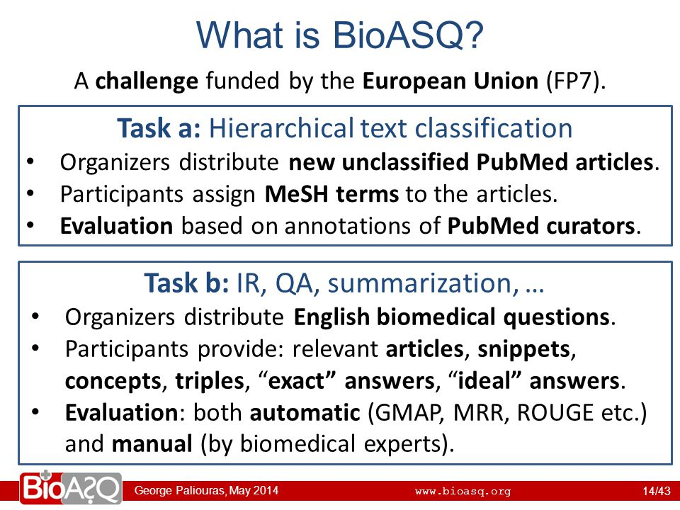 George Paliouras, May 2014 www.bioasq.org What is BioASQ.