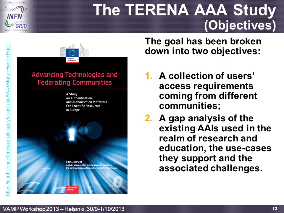 Enabling Grids for E-sciencE The TERENA AAA Study (Objectives) The goal has been broken down into two objectives: 1.A collection of users' access requ