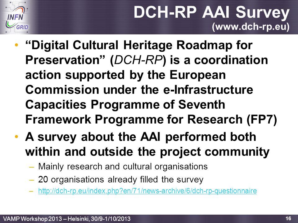 "Enabling Grids for E-sciencE DCH-RP AAI Survey (www.dch-rp.eu) ""Digital Cultural Heritage Roadmap for Preservation"" (DCH-RP) is a coordination action"