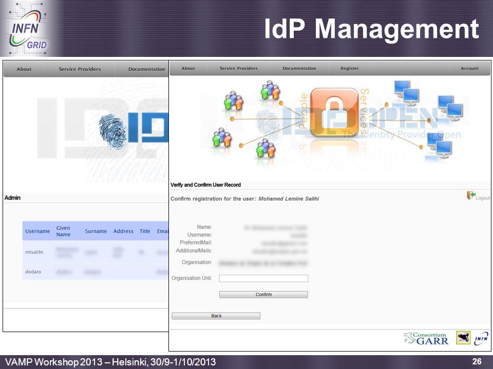 Enabling Grids for E-sciencE IdP Management 26 VAMP Workshop 2013 – Helsinki, 30/9-1/10/2013