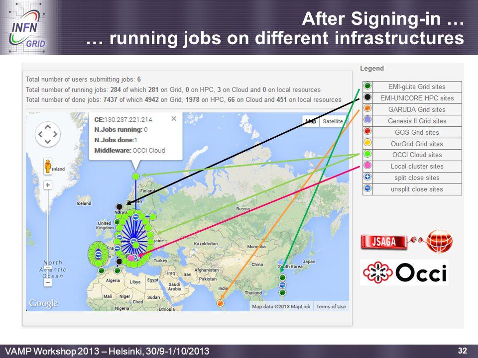 Enabling Grids for E-sciencE 32 After Signing-in … … running jobs on different infrastructures VAMP Workshop 2013 – Helsinki, 30/9-1/10/2013