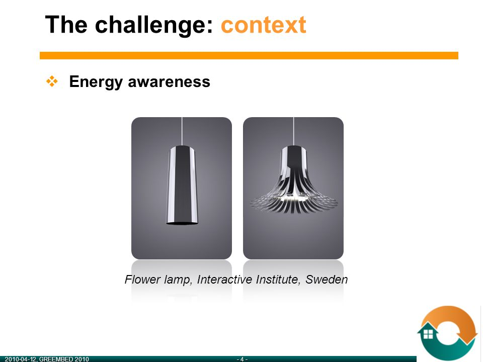 2010-04-12, GREEMBED 2010- 5 - The challenge: context  Online information sharing A social network for energy ?