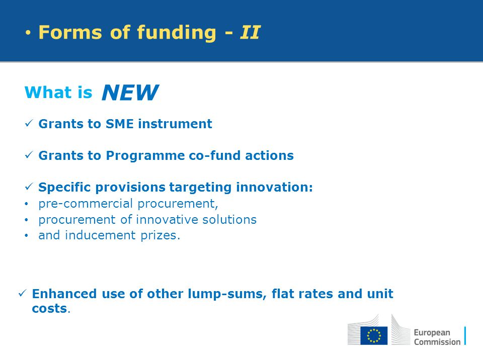 What is Grants to SME instrument Grants to Programme co-fund actions Specific provisions targeting innovation: pre-commercial procurement, procurement