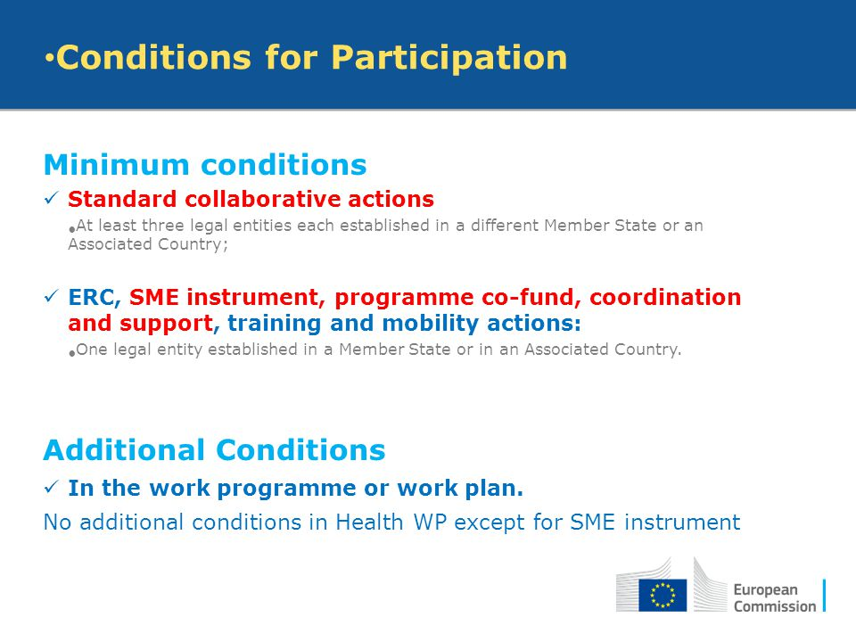 Conditions for Participation Minimum conditions Standard collaborative actions At least three legal entities each established in a different Member St