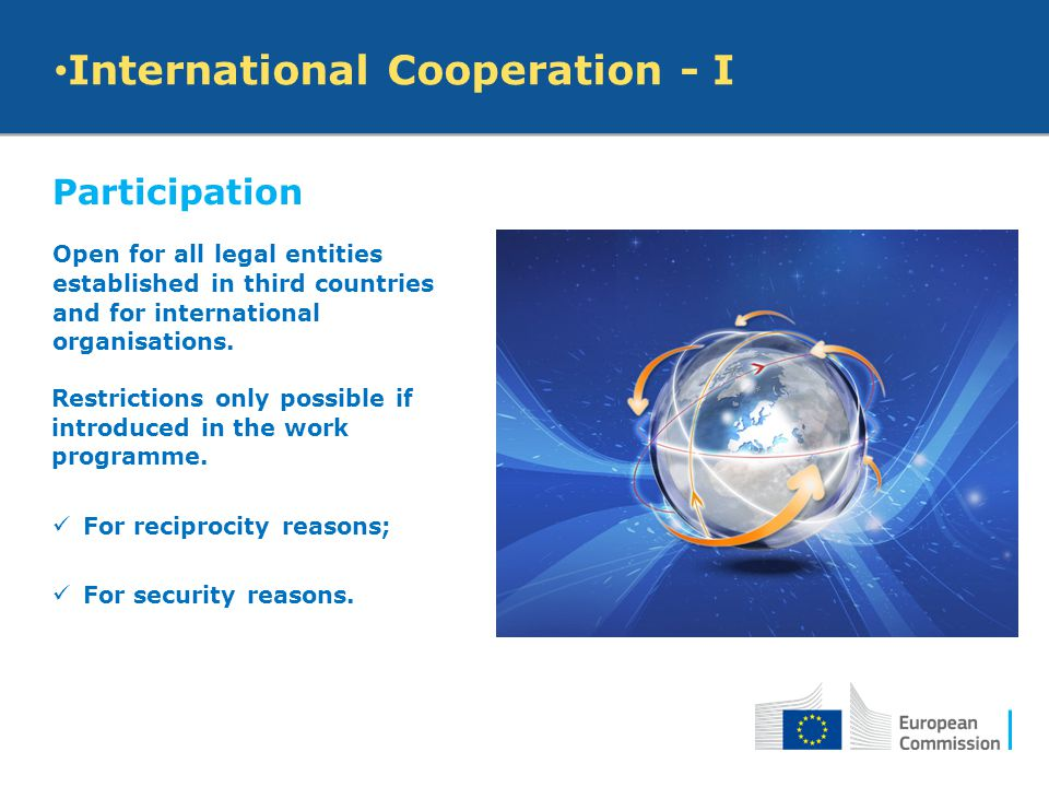 Participation Open for all legal entities established in third countries and for international organisations. International Cooperation - I Restrictio