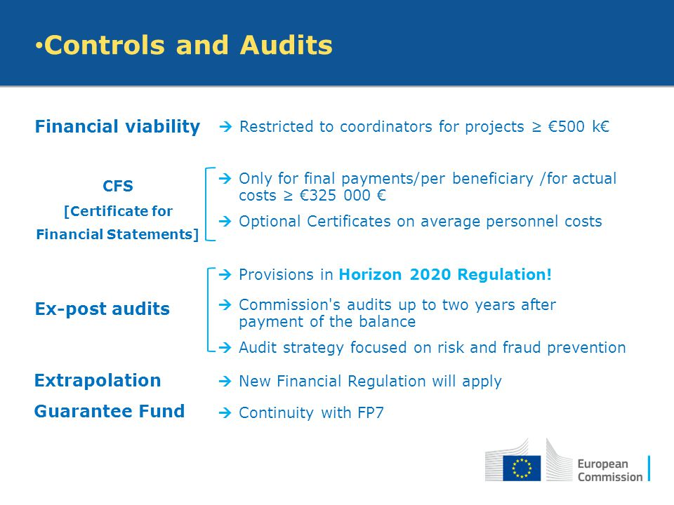 Controls and Audits Financial viability  Restricted to coordinators for projects ≥ €500 k€ CFS [Certificate for Financial Statements]  Only for fina