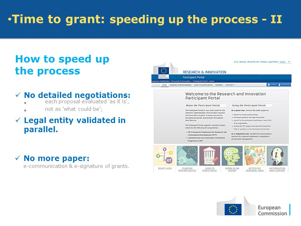 Time to grant: speeding up the process - II How to speed up the process No detailed negotiations: each proposal evaluated 'as it is', not as 'what cou