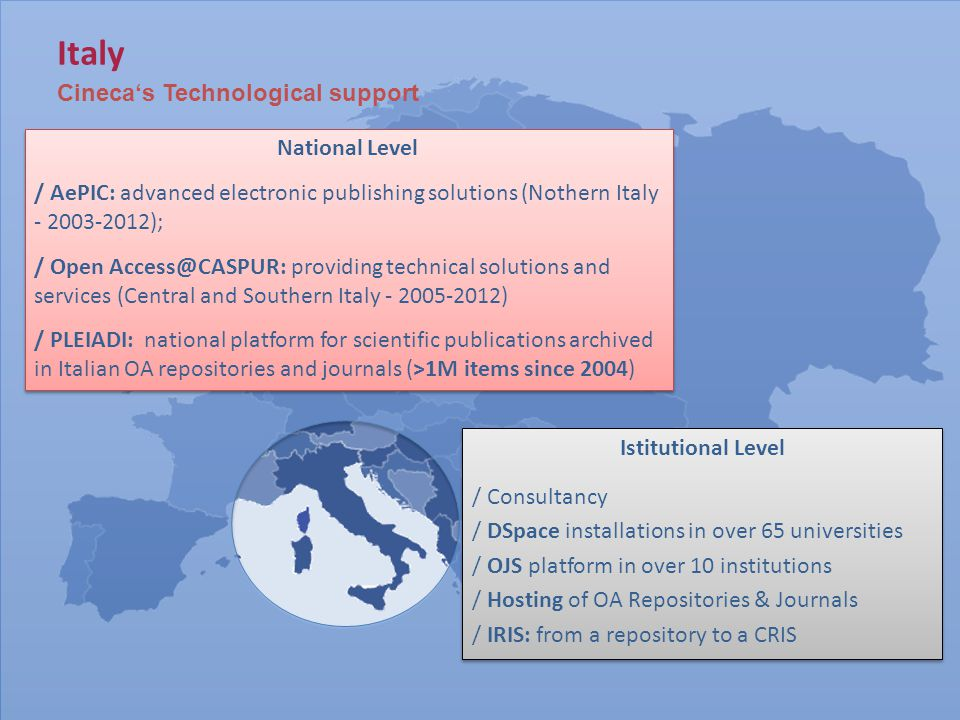 Italy Cineca's Technological support National Level / AePIC: advanced electronic publishing solutions (Nothern Italy - 2003-2012); / Open Access@CASPUR: providing technical solutions and services (Central and Southern Italy - 2005-2012) / PLEIADI: national platform for scientific publications archived in Italian OA repositories and journals (>1M items since 2004) National Level / AePIC: advanced electronic publishing solutions (Nothern Italy - 2003-2012); / Open Access@CASPUR: providing technical solutions and services (Central and Southern Italy - 2005-2012) / PLEIADI: national platform for scientific publications archived in Italian OA repositories and journals (>1M items since 2004) Istitutional Level / Consultancy / DSpace installations in over 65 universities / OJS platform in over 10 institutions / Hosting of OA Repositories & Journals / IRIS: from a repository to a CRIS Istitutional Level / Consultancy / DSpace installations in over 65 universities / OJS platform in over 10 institutions / Hosting of OA Repositories & Journals / IRIS: from a repository to a CRIS
