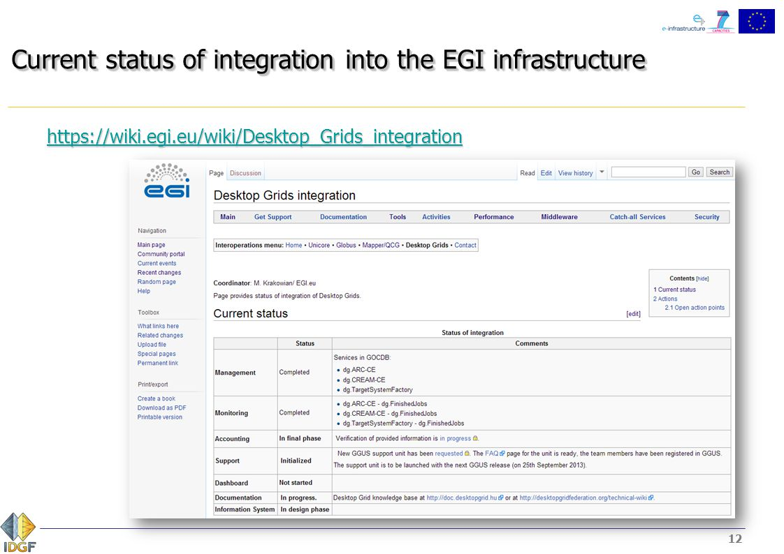 12 Current status of integration into the EGI infrastructure https://wiki.egi.eu/wiki/Desktop_Grids_integration 12