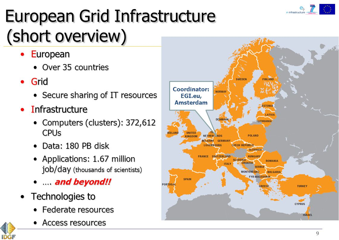 9 European Grid Infrastructure (short overview) EuropeanEuropean Over 35 countriesOver 35 countries GridGrid Secure sharing of IT resourcesSecure shar